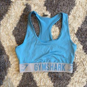 Gymshark blue dry moisture elastic band bra sz M